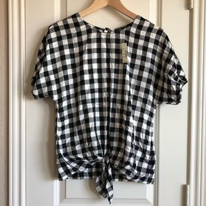 NWT Madewell Tie Front Button Back Top XXS